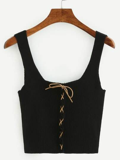 Lace-Up Ribbed Knit Crop Tank Top - Black