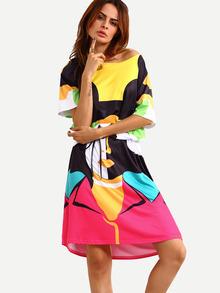 Color Block Pop Portrait Print Shift Dress