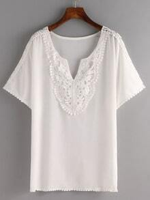 Pom Pom Lace Trimmed White Chiffon Top