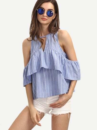 Синяя полосатая блуза с воланами с открытыми плечами