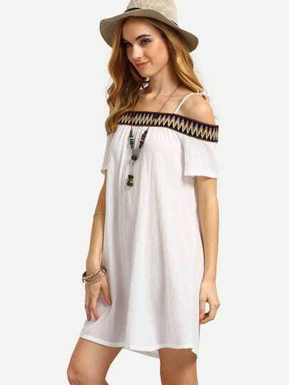 White Off The Shoulder Embroidered Decoration Shift Dress