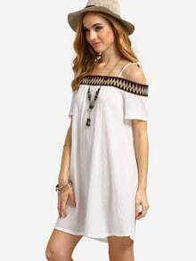 White Off The Shoulder Embroidered Decoration Shift Dress