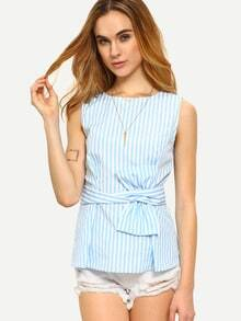 Blue Striped Sleeveless Tie Waist Blouse