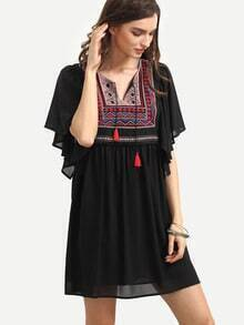 Black Vintage Embroidered Shift Dress