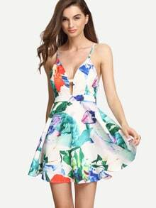 Multicolor Floral Spaghetti Strap Crisscross Back Dress