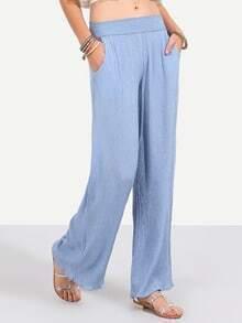 Blue Pockets Wide Leg Pants