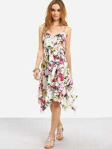 Multicolor Floral Spaghetti Strap Asymmetrical Dress