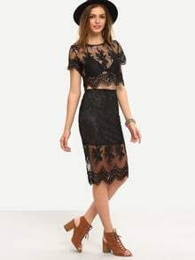 Black Short Sleeve Lace Crop Blouse With Skirt
