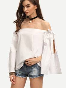 White Off The Shoulder Bow Split Sleeve Blouse