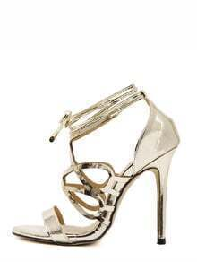 Golden Peep Toe Strappy Stiletto Pumps