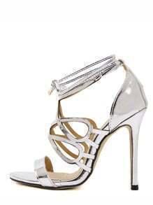 Silver Peep Toe Strappy Stiletto Pumps