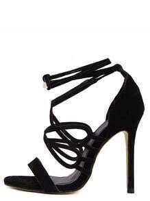 Black Peep Toe Strappy Stiletto Pumps