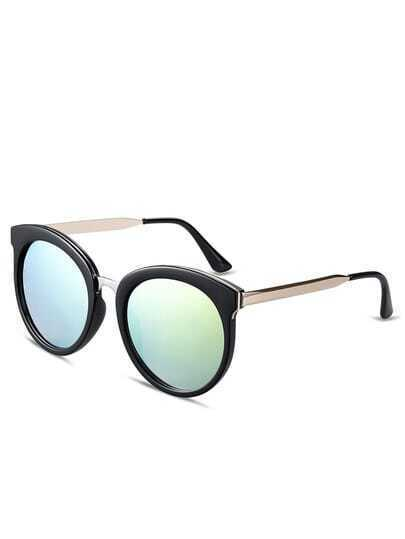 Browline Frame Green Lenses Sunglasses