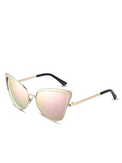 Gold Frame Pink Lenses Sunglasses