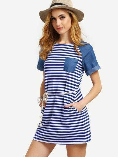 Multicolor Striped Pocket Short Sleeve Dress With Belt
