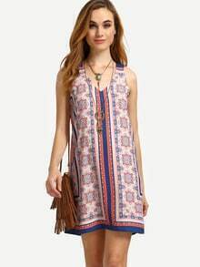Multicolor Print Vintage V Neck Sleeveless Shift Dress