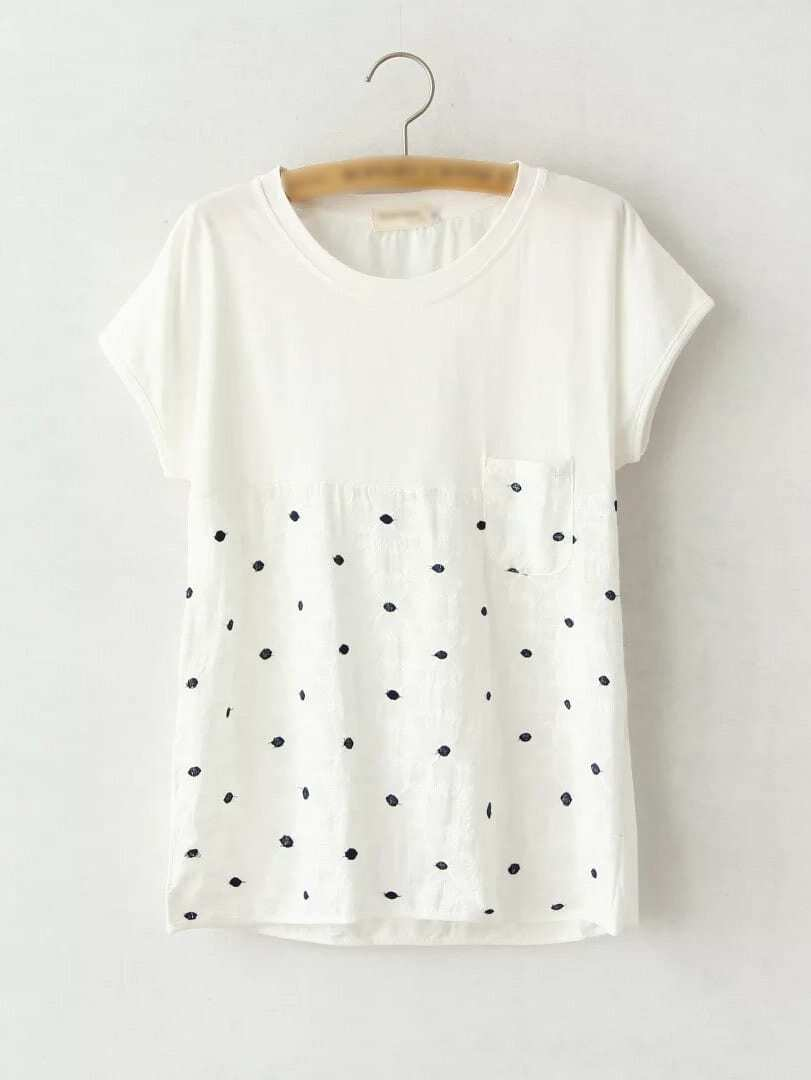 White short sleeve polka dots embroidery pocket t shirt