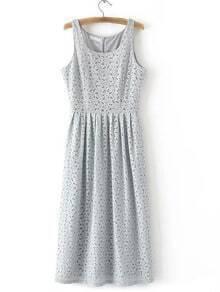 Grey Zipper Back Sleeveless Lace Midi Dress