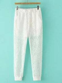 White Elastic Waist Slim Pockets Lace Pants