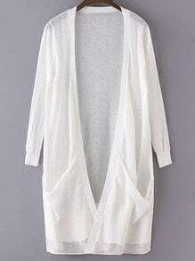 White Long Sleeve Pockets Cardigan Outerwear