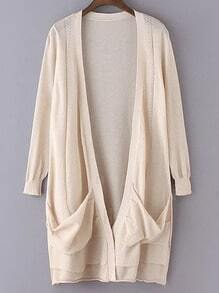 Beige Long Sleeve Pockets Cardigan Outerwear