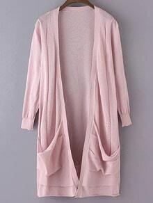Pink Long Sleeve Pockets Cardigan Outerwear
