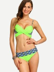 Cross Wrap Printed Bikini Set - Fluorescent Green