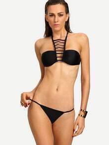 Ladder-Cutout Halter Neck Bandeau Bikini Set - Black