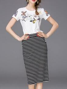 White Butterfly Print Top With Striped Skirt