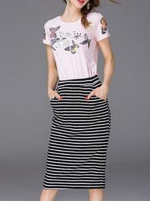 Pink Butterfly Print Top With Striped Skirt