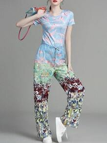 Multicolor Birds Floral Drawstring Top With Pants