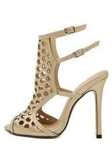 Golden Peep Toe Hollow Heels