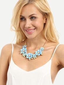 Blue Exotic Flower Shaped Necklace