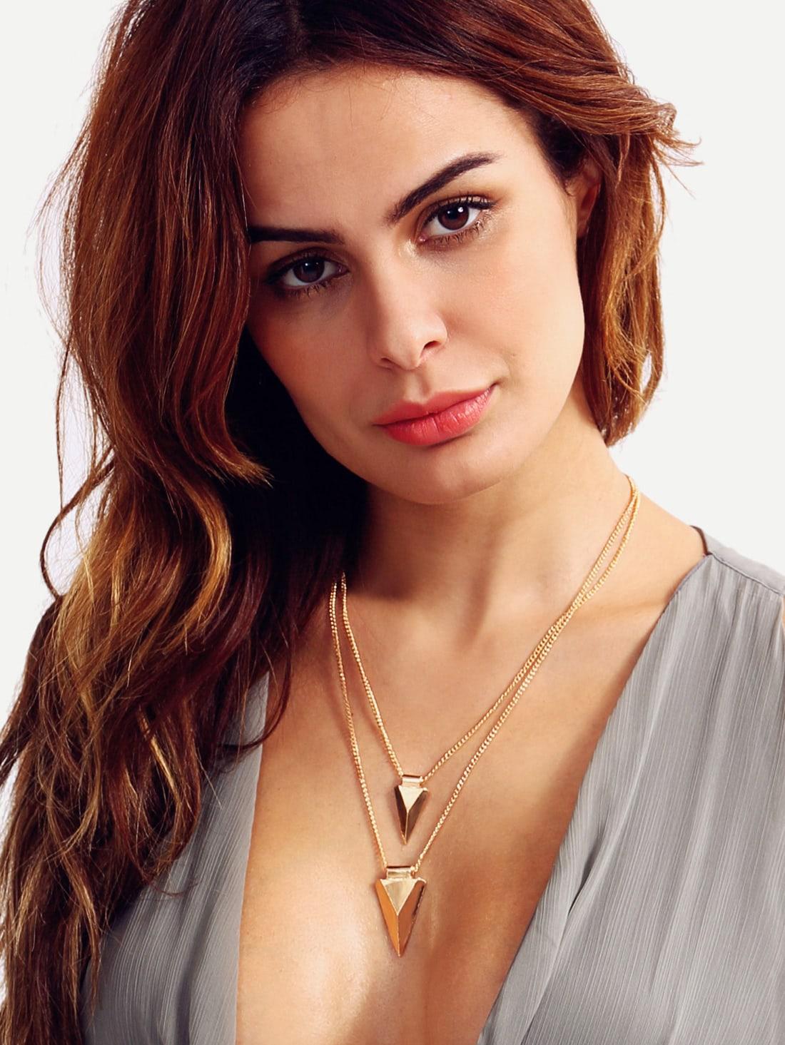Фото Golden Layered Triangle Pendant Necklace. Купить с доставкой