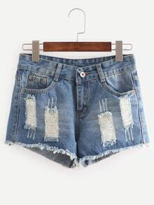 Ripped Raw Hem Blue Denim Shorts