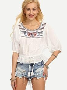 Embroidered Drawstring Puplum Peasant Blouse - White