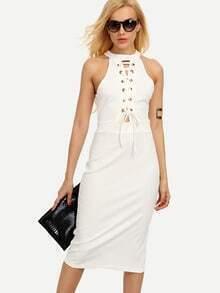 Halter Neck Lace-Up Slit Back Sheath Dress - White