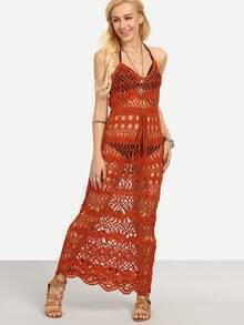 Halter Neck Hollow Out Crochet Dress - Orange
