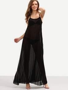 Pleated Chiffon Maxi Dress - Black