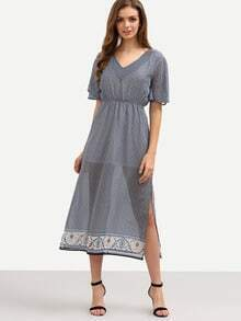 V-Neck High Waist Printed Slit Chiffon Dress - Black
