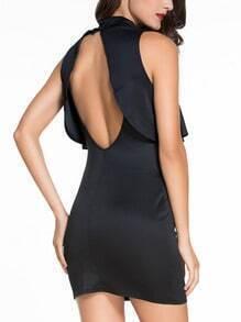 Mock Neck Cutout Slit Back Flounce Dress - Black