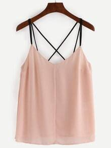 Strappy Pleated Chiffon Cami Top - Apricot