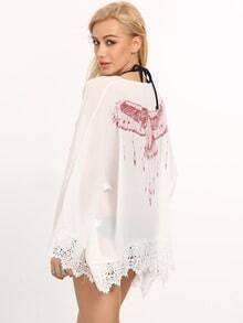 White Bell Sleeve Crochet Eagle Print Blouse