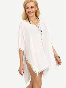 V Neck Crochet Hollow Out Beach White Blouse
