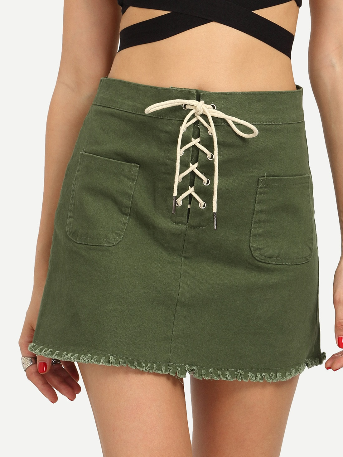 Buy Lace-Up Fly Dual Pocket Raw Hem Skirt - Olive Green
