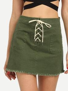 Lace-Up Fly Dual Pocket Raw Hem Skirt - Olive Green