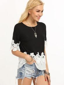 Contrast Lace & Chiffon Trimmed T-shirt