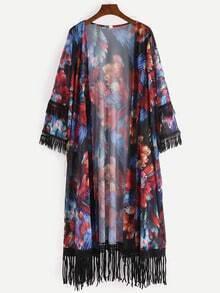 Fringe Trimmed Multicolor Flower Print Kimono