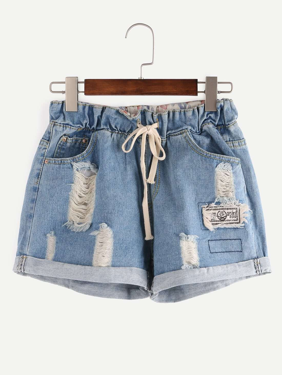 Ripped Drawstring Waist Rolled Hem Denim Shorts title=