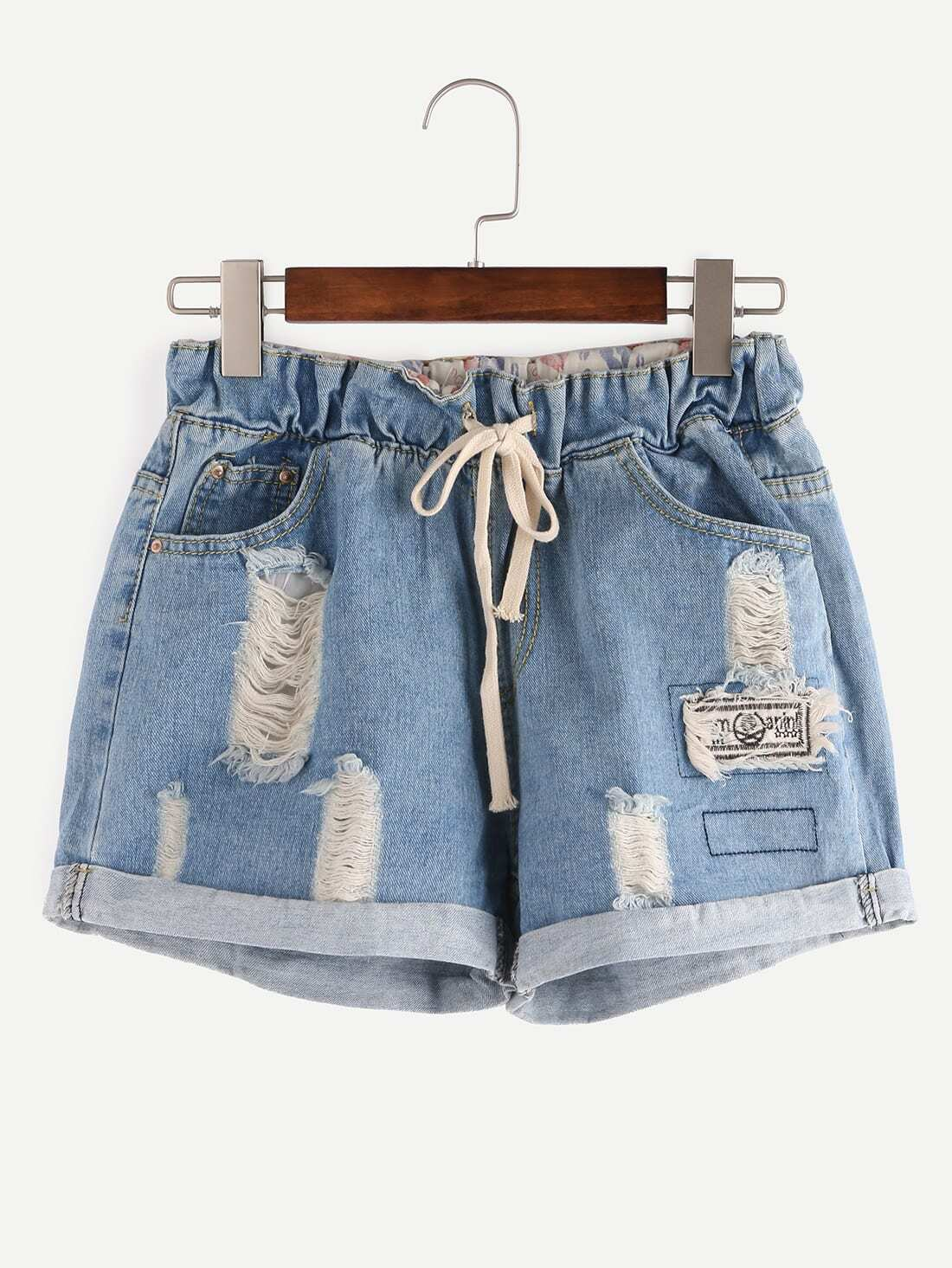 Ripped Drawstring Waist Rolled Hem Denim Shorts